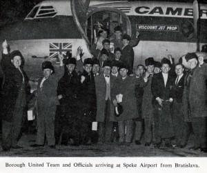 arrival in Speke from Yugoslavia