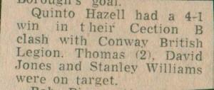 QHL vs Conwy British Legion.